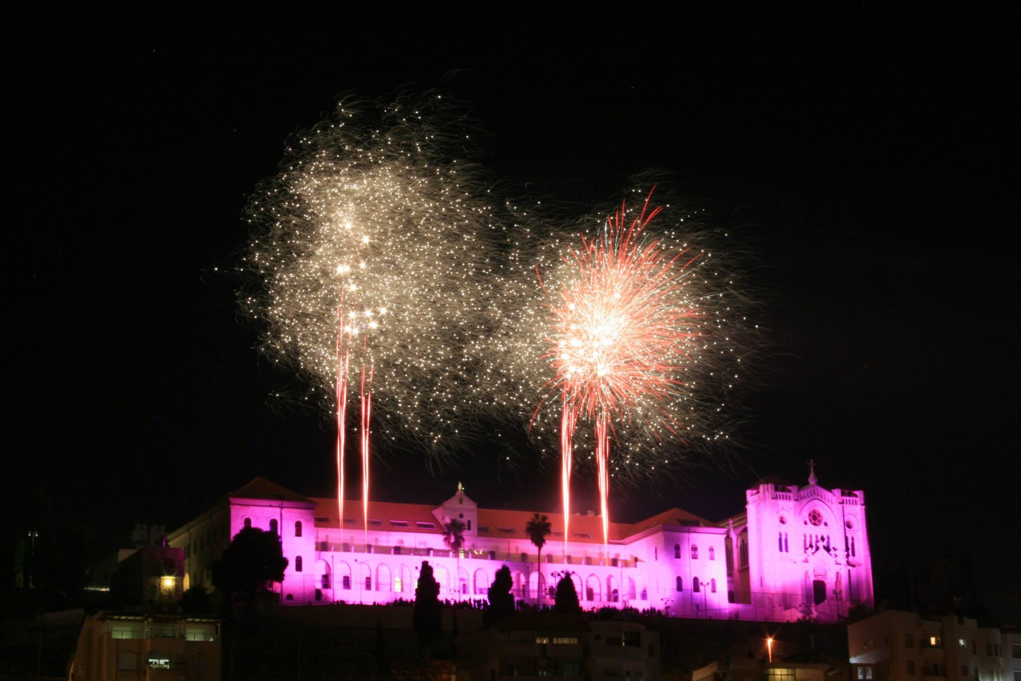 Lighting the Salesian Church Of Pink